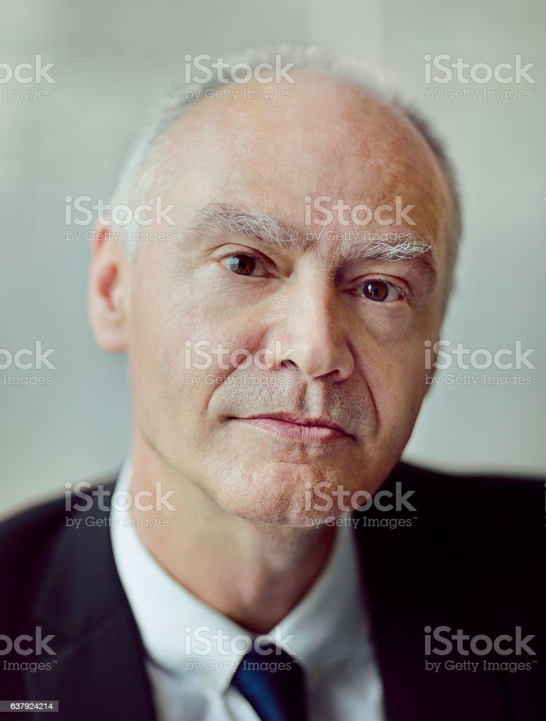 Portrait of senior businessman in office stock photo