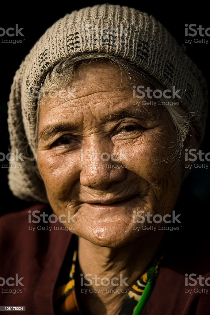 Portrait of Senior Cambodian Woman royalty-free stock photo