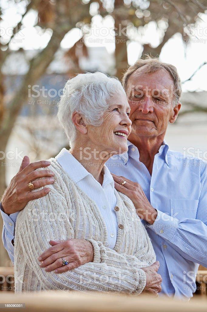 Portrait of senior couple outdoors stock photo