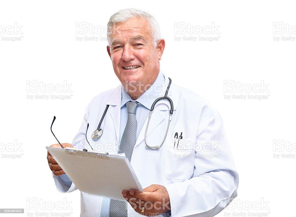 Portrait of senior doctor stock photo