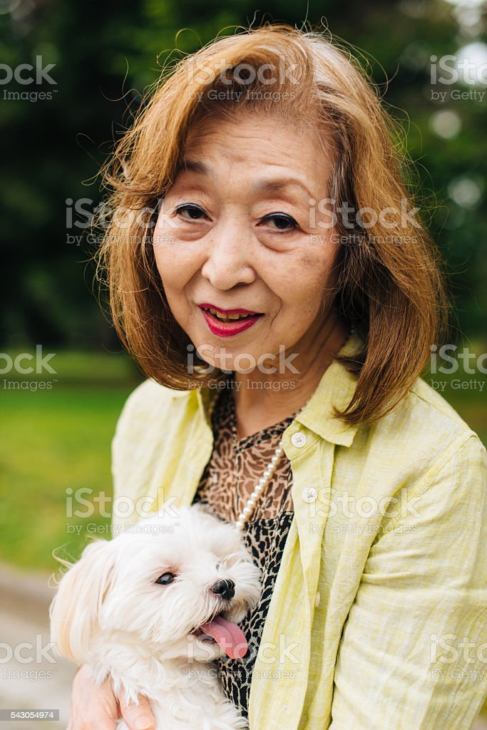 Portrait of senior Japanese woman in park with Maltese dog stock photo