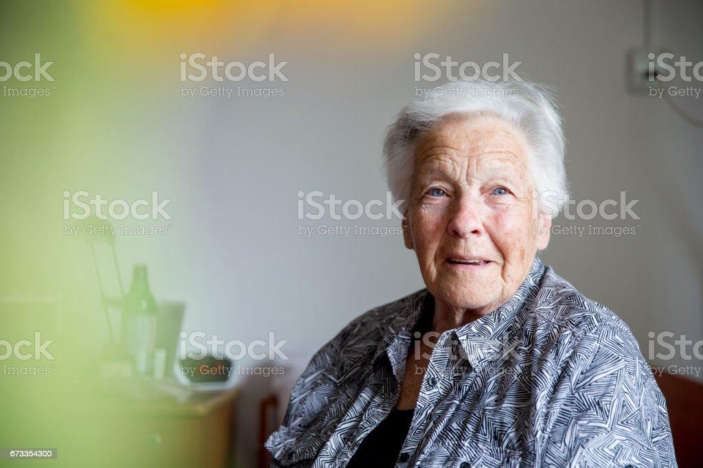 Portrait of Senior Lady stock photo