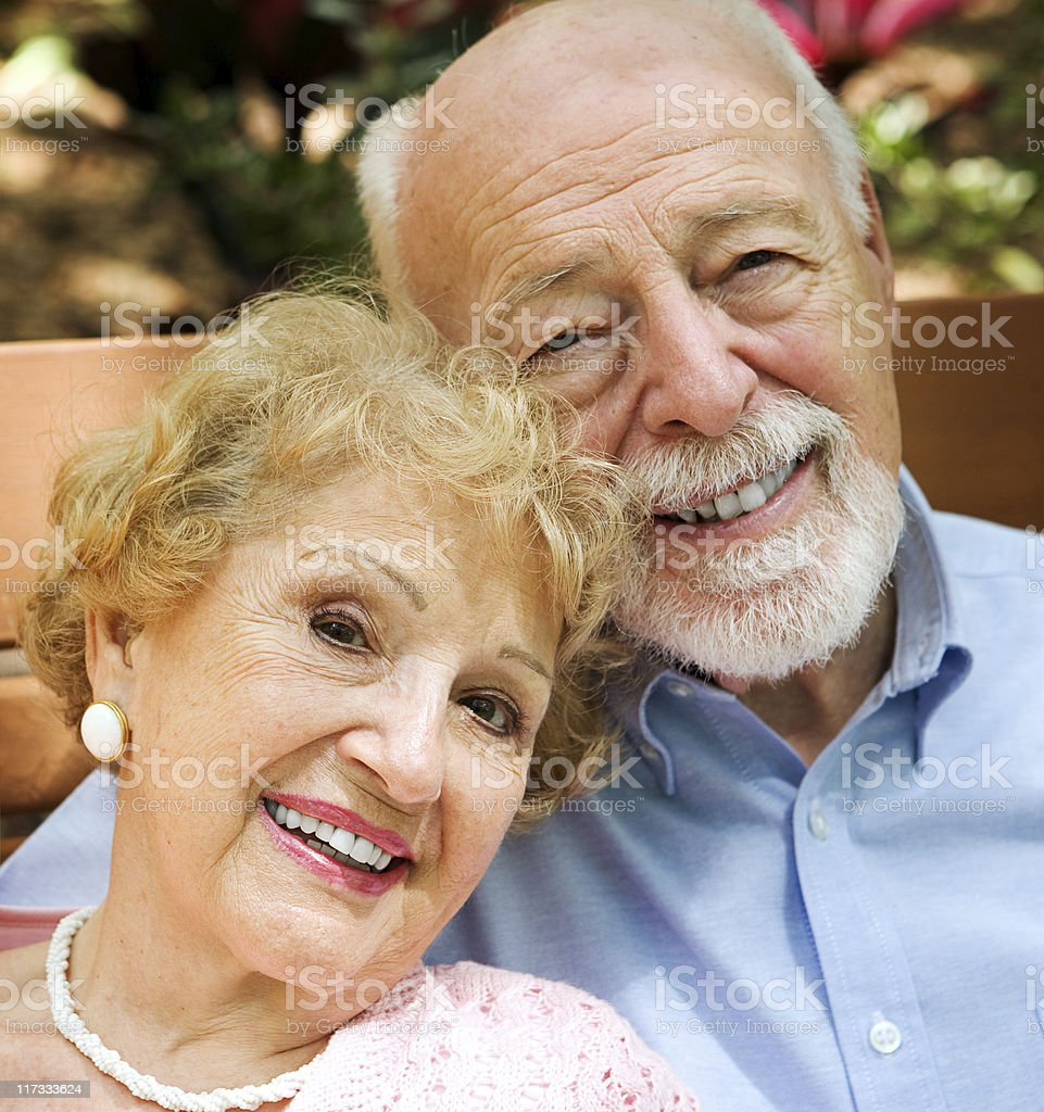 Portrait of senior man and woman royalty-free stock photo