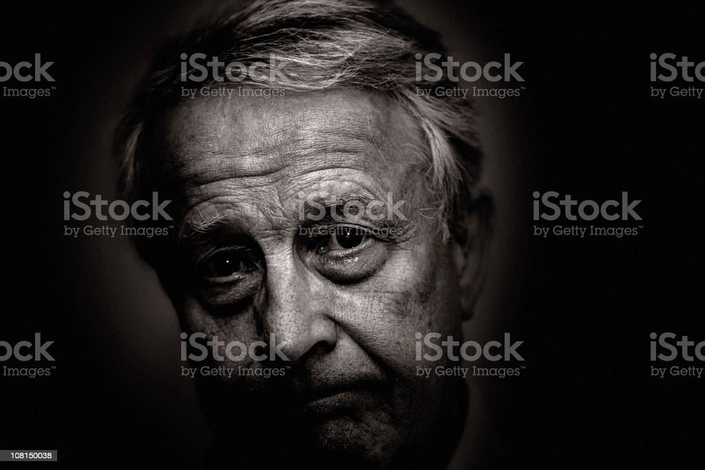 Portrait of Senior Man, Black and White royalty-free stock photo