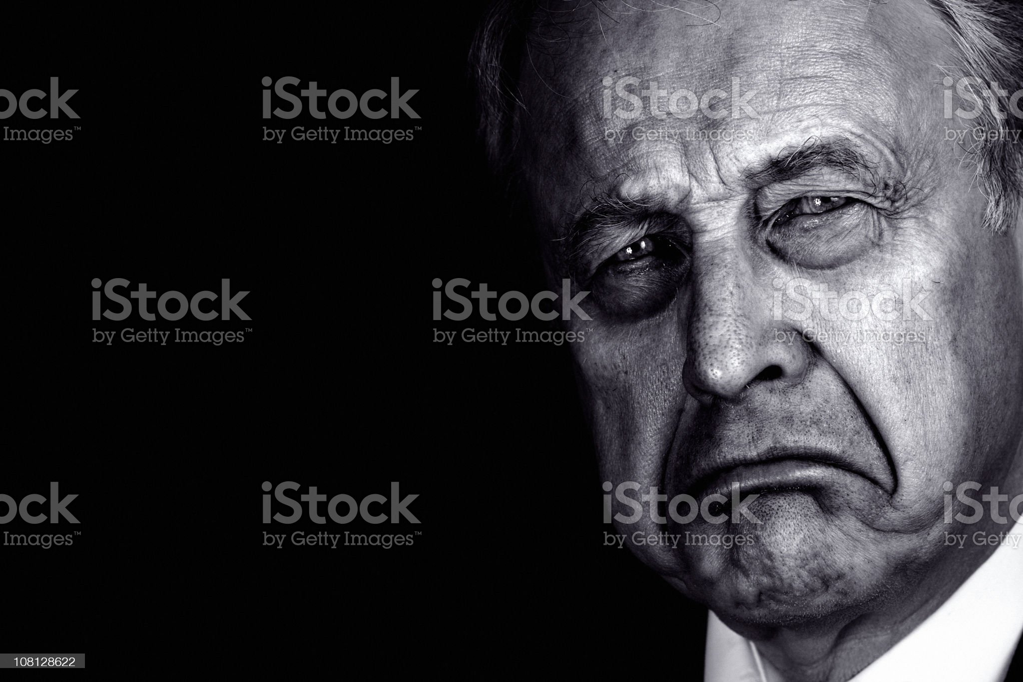 Portrait of Senior Man Frowning, Black and White royalty-free stock photo