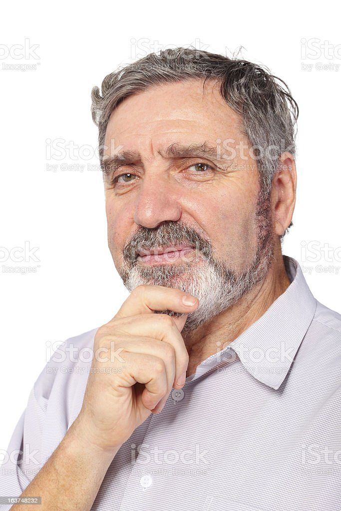 Portrait of senior man, hold chin for hand, isolated royalty-free stock photo