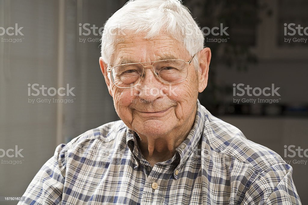 portrait of senior man in candid setting stock photo