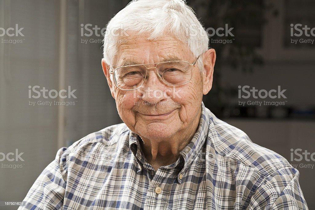 portrait of senior man in candid setting stock photo