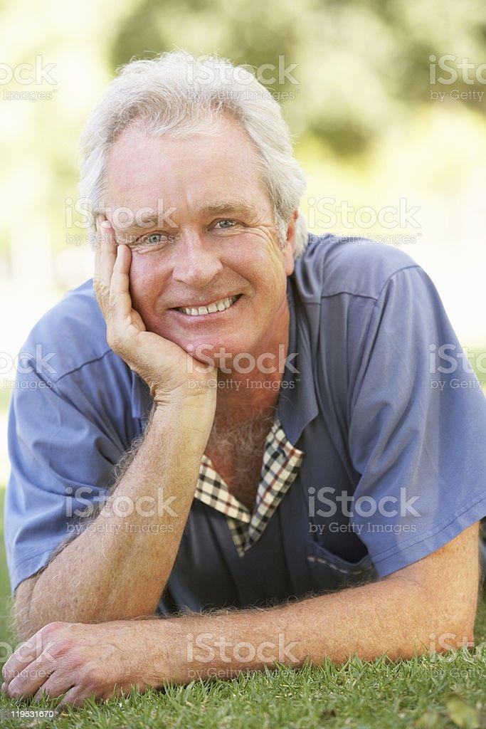 Portrait Of Senior Man In Park royalty-free stock photo