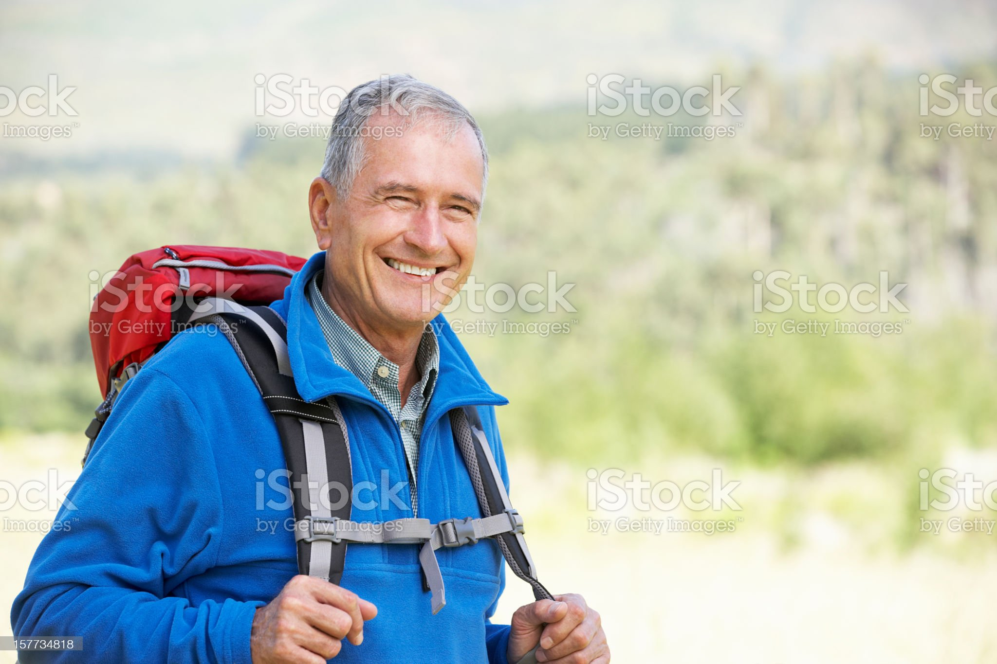 Portrait Of Senior Man On Hike royalty-free stock photo