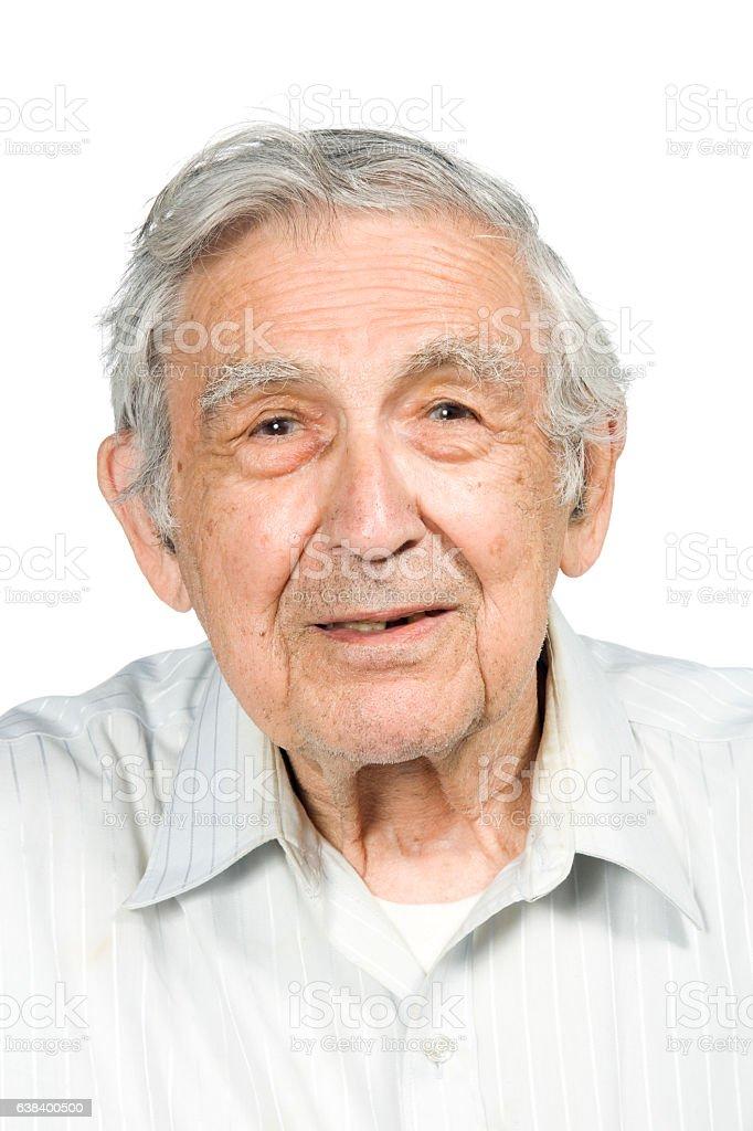 Portrait of senior man smiling on white background stock photo