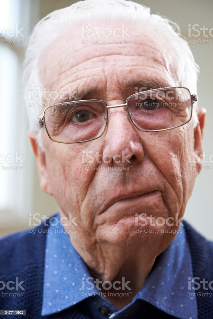 Portrait Of Senior Man Suffering From Stroke stock photo