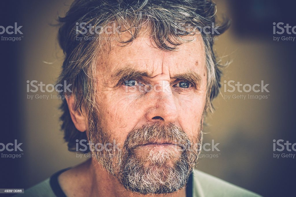 Portrait of Senior Man with Moustache and Beard, Italy, Europe stock photo