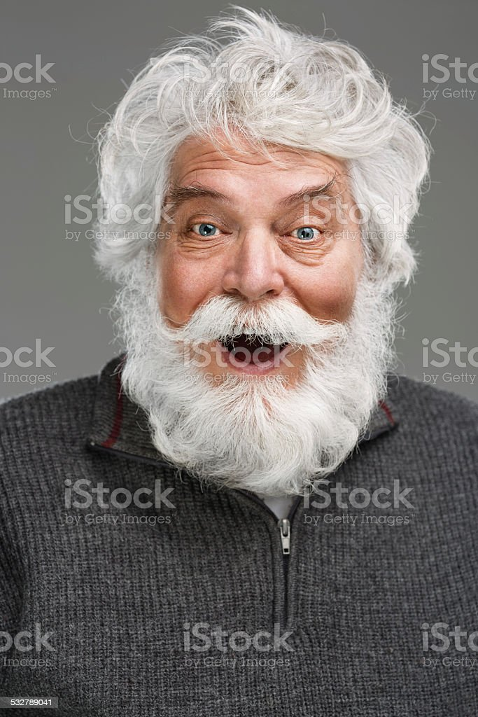 Portrait of senior man with white beard and mustache stock photo