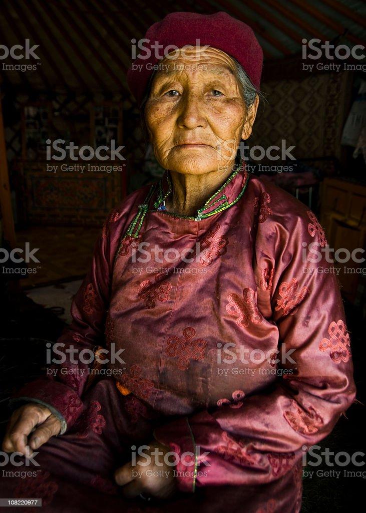 Portrait of Senior Mongolian Woman stock photo