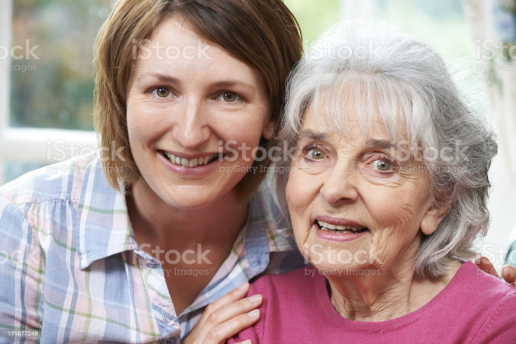 Portrait Of Senior Mother And Adult Daughter royalty-free stock photo