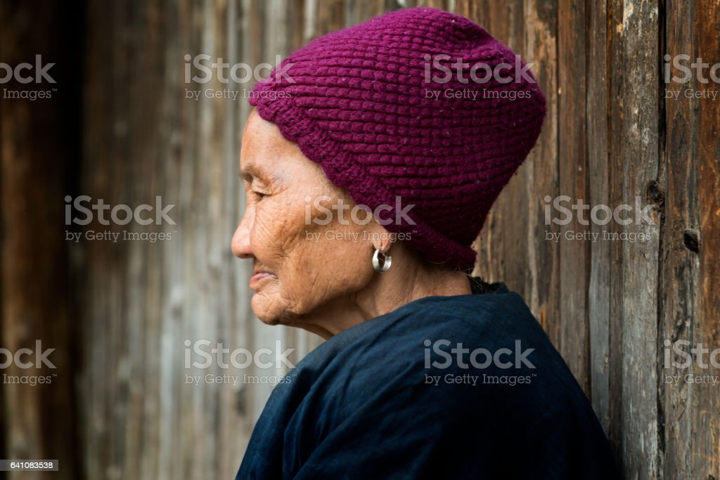portrait of senior Old Dong People Minority Woman stock photo