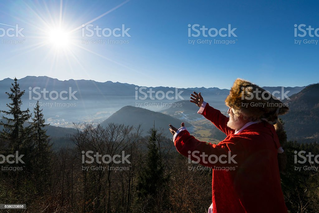 Portrait of senior with Kuchma on mountain's sun shine stock photo