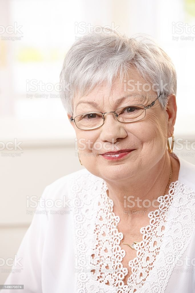 Portrait of senior woman at home royalty-free stock photo