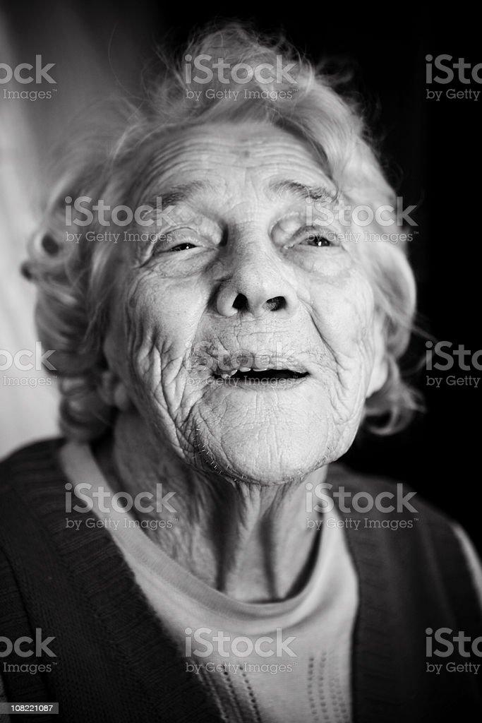Portrait of Senior Woman, Black and White royalty-free stock photo