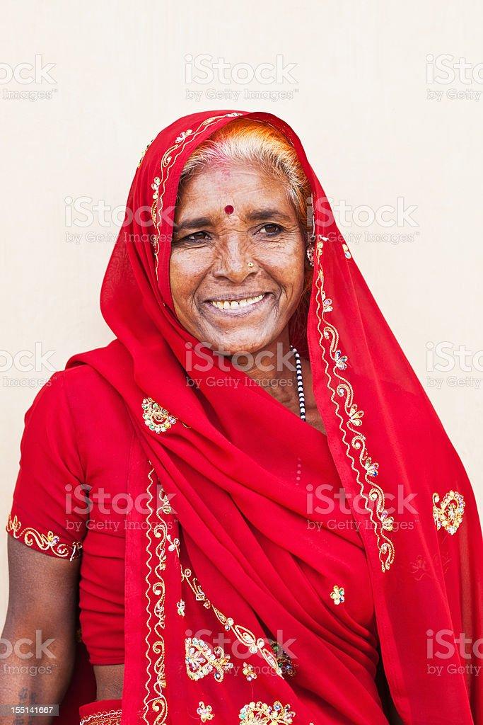 Portrait of Senior Woman India stock photo
