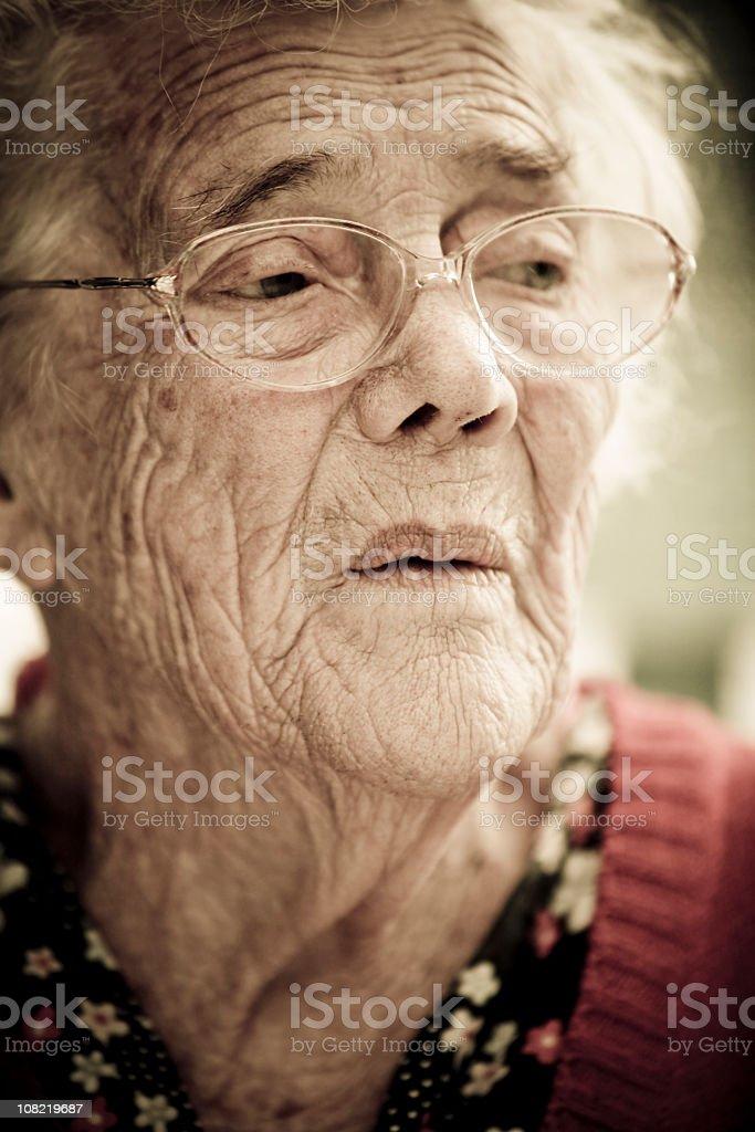 Portrait of Senior Woman Looking Away royalty-free stock photo
