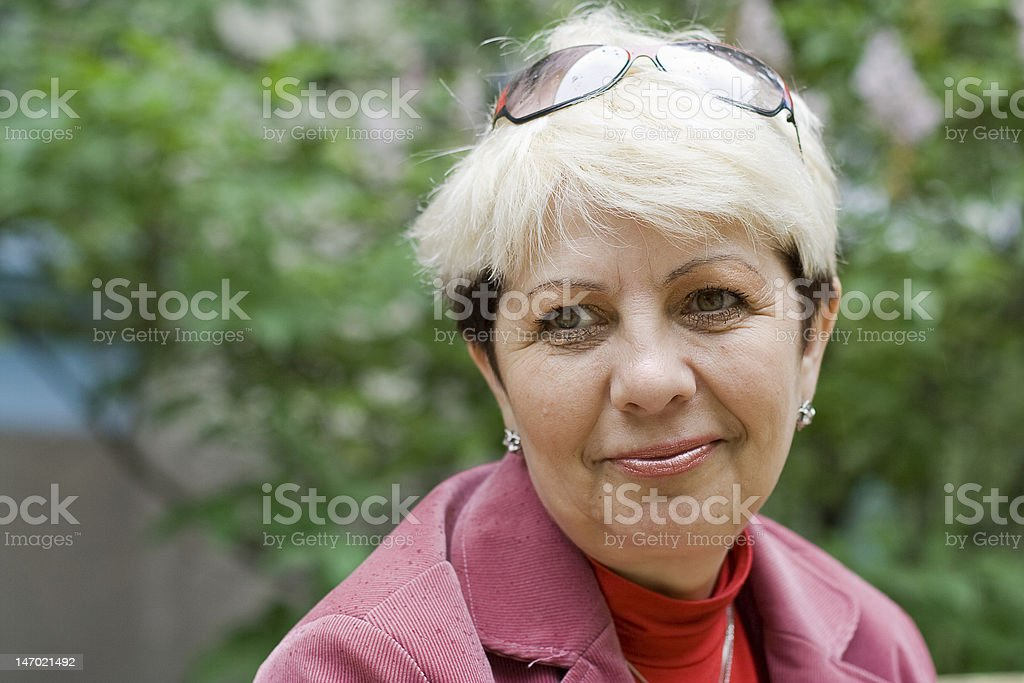 portrait of senior woman stock photo
