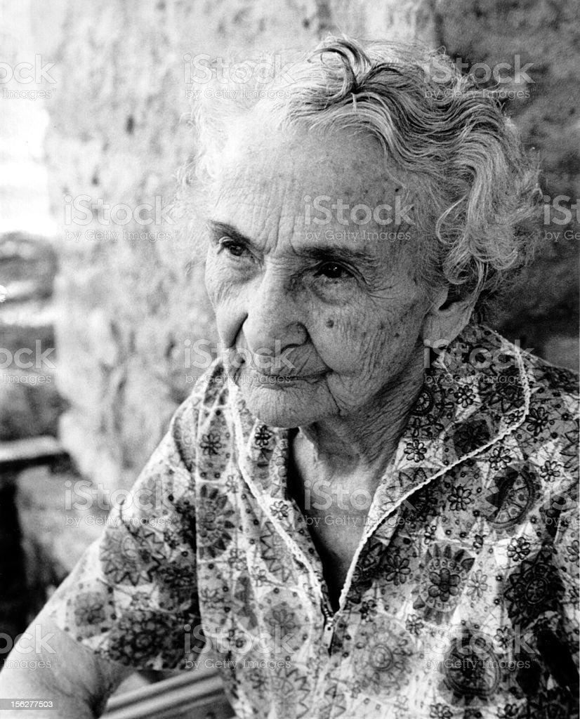 Portrait of Senior Woman Sitting Down, Black and White royalty-free stock photo