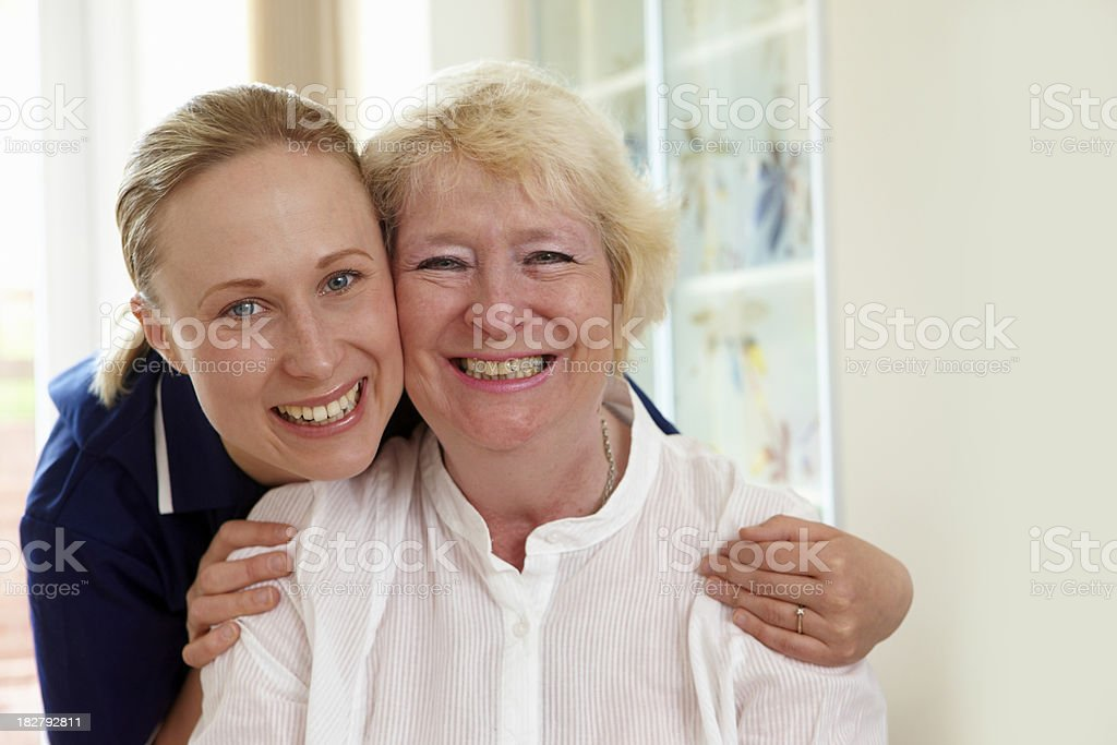 portrait of senior woman with carer royalty-free stock photo