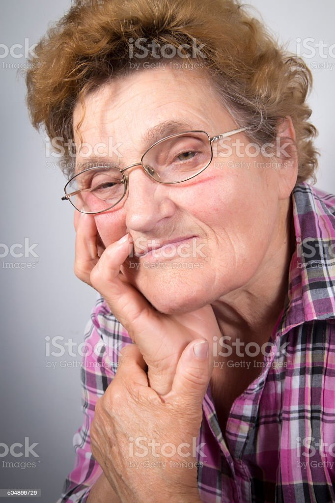 Portrait of senior woman with glasses royalty-free stock photo