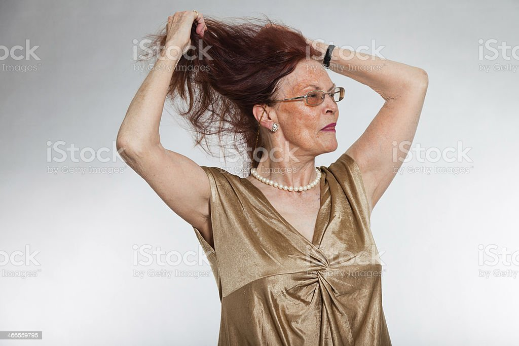 Portrait of senior woman with glasses showing emotions. royalty-free stock photo
