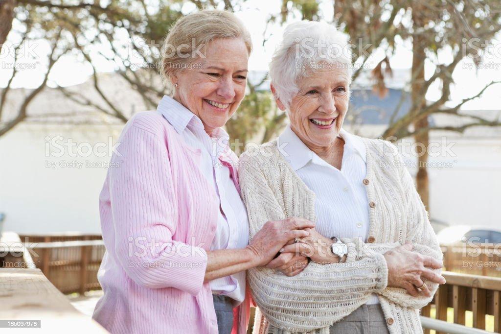 Portrait of senior women outdoors stock photo