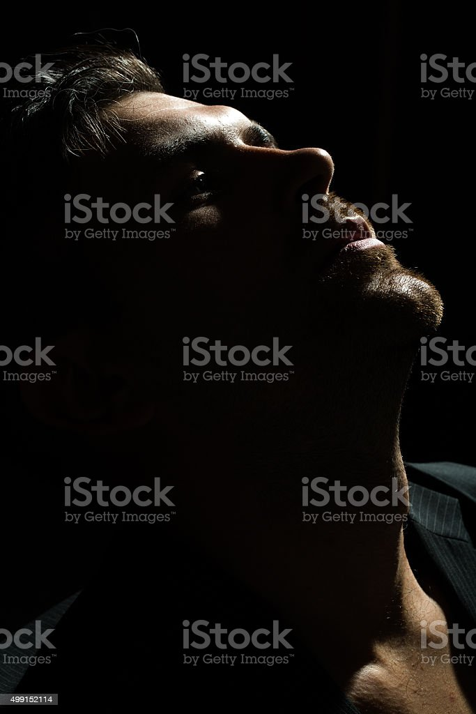 Portrait of sensual bearded man stock photo