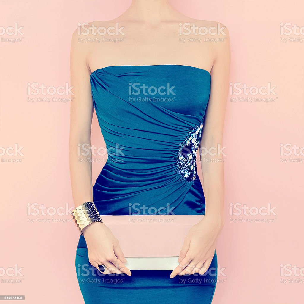 Portrait of sensual woman in evening dress stock photo