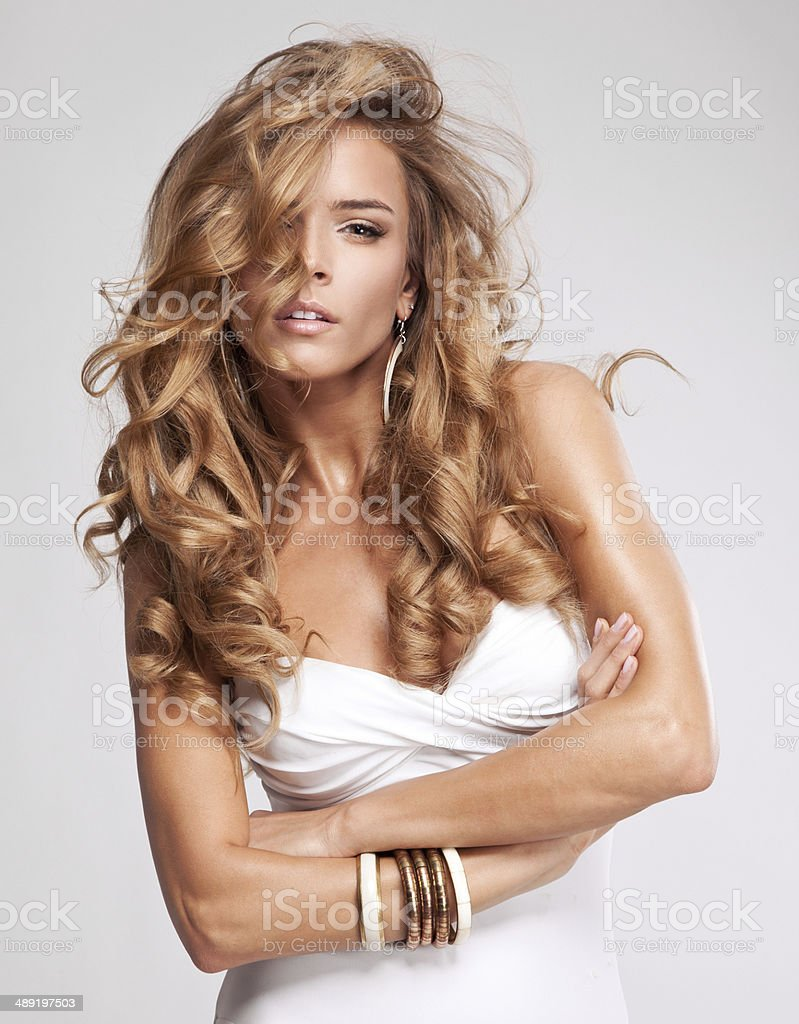 Portrait of sensual woman with long healthy hair. stock photo