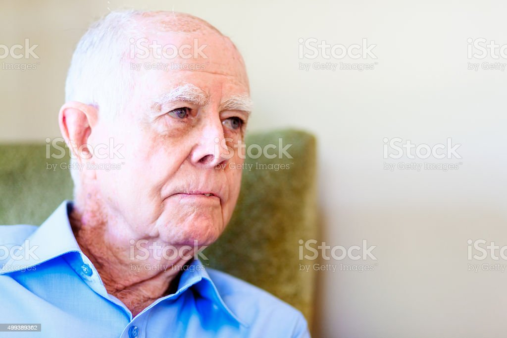 Portrait of serious 90 year old man stock photo