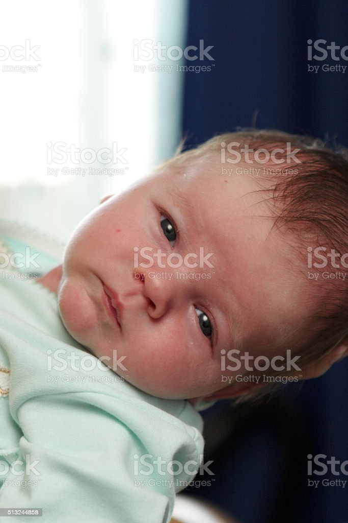 Portrait of serious baby stock photo