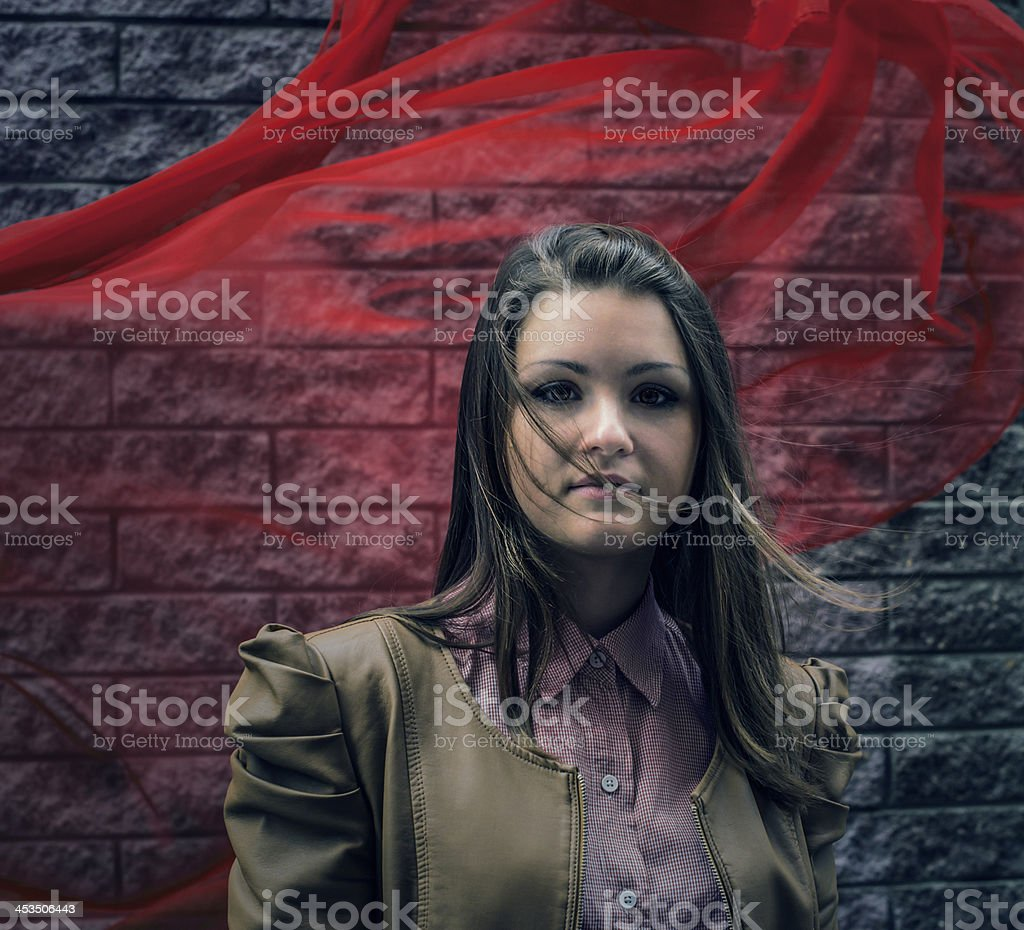 portrait of serious beautiful girl outdoor royalty-free stock photo