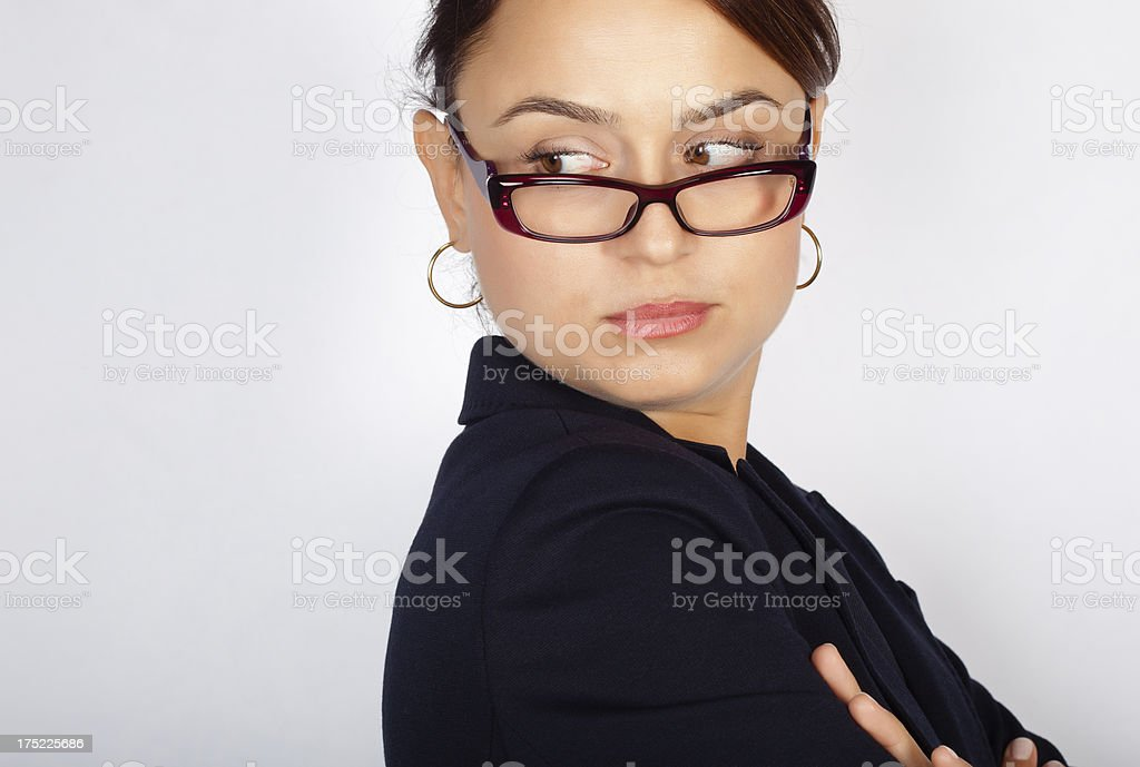 Portrait of serious business woman in glasses royalty-free stock photo