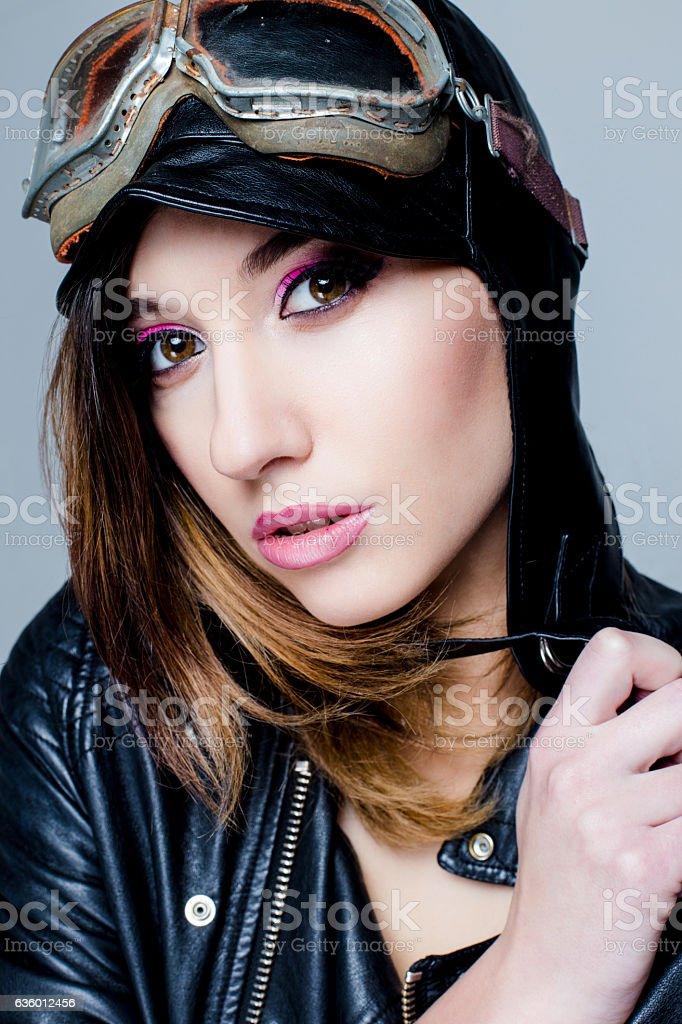 Portrait of Sexy biker woman stock photo