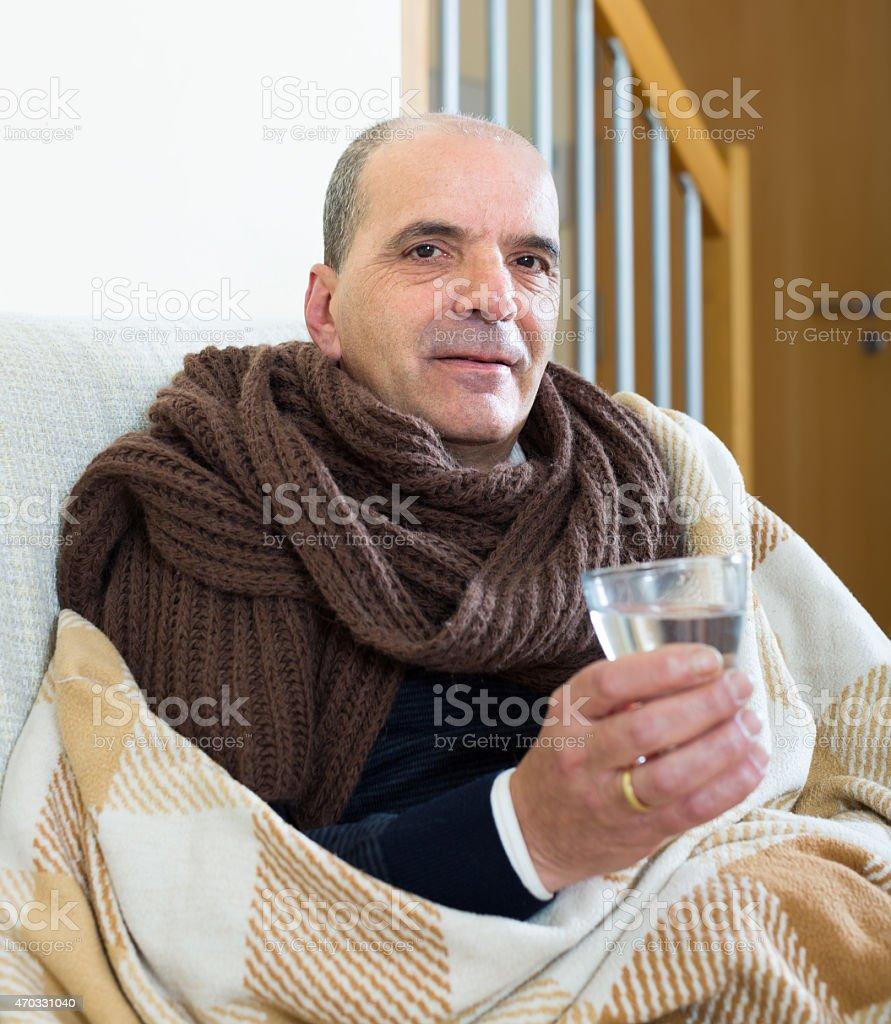 Portrait of sick elderly man stock photo