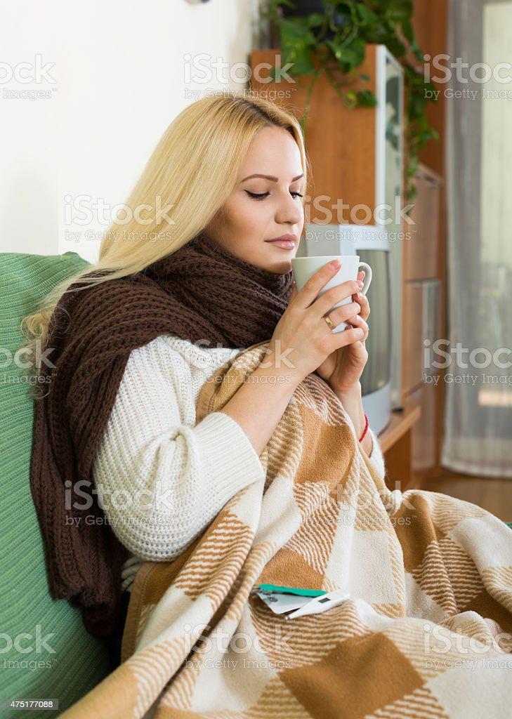 Portrait of sick woman stock photo