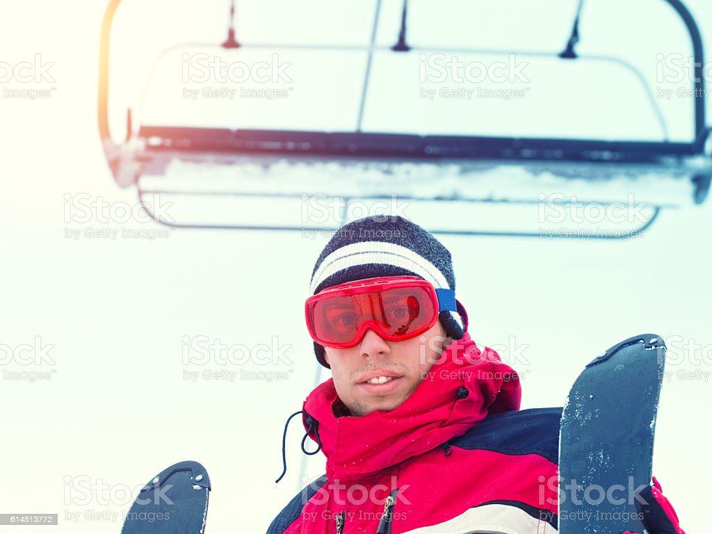 Portrait of skier man stock photo