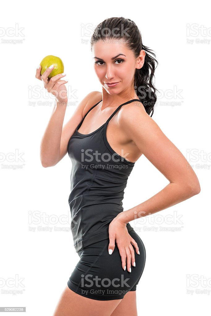 Portrait of slim beautiful woman stock photo