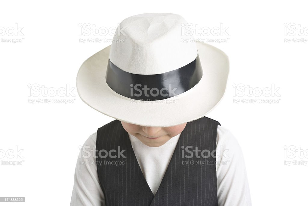 portrait of small boy in white hat royalty-free stock photo