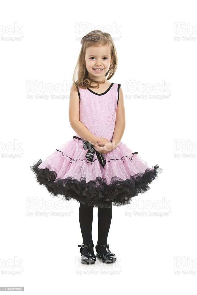 portrait of small girl in pink dress royalty-free stock photo