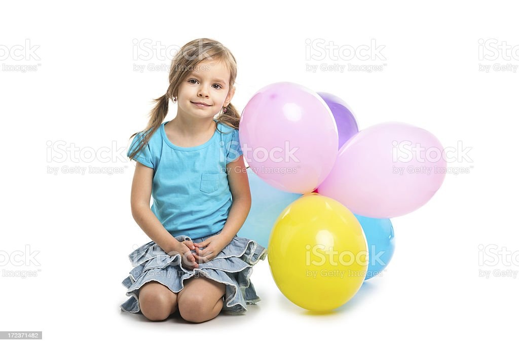 portrait of small girl with baloons royalty-free stock photo
