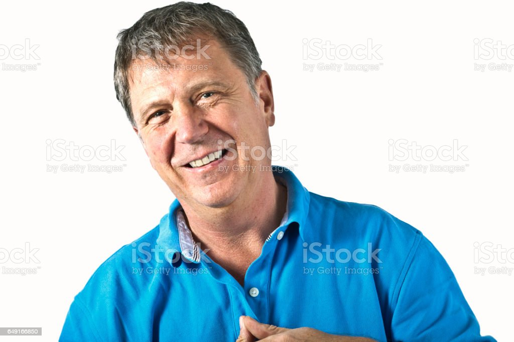 portrait of smart gesturing man stock photo