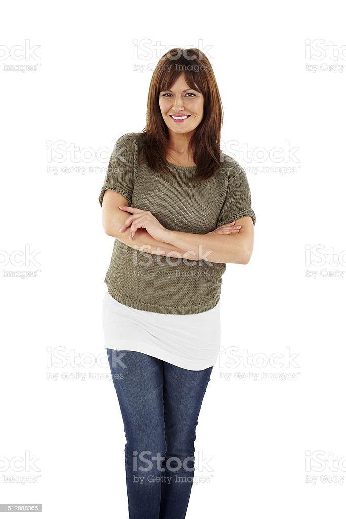 Portrait of smart mature woman standing on white stock photo