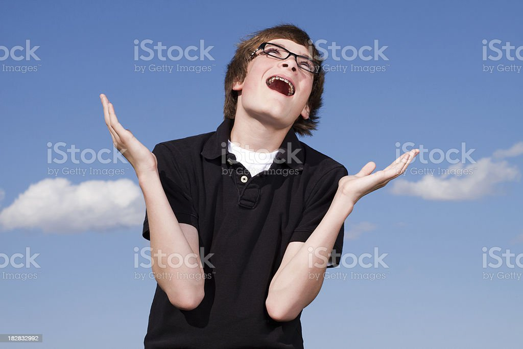 Portrait of Smart Teenage Boy with Enthusiastic Expression royalty-free stock photo